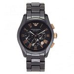 Armani AR1410 Black & Rose Gold Ceramic Men's Chronograph Watch