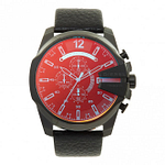 Diesel DZ4323 Mega Chief Blue & Red Dial Black Leather Men's Chronograph Watch