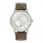 Armani AR2463 Brown Leather & Silver Dial Men's Watch
