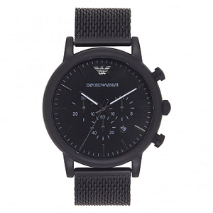 Armani AR1968 Black IP Stainless Steel Mesh Chronograph Men's Watch