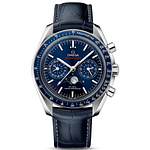 Omega Speedmaster Moonwatch CO-Axial Master Chronometer Moonphase Chronograph Steel On Leather Strap Blue