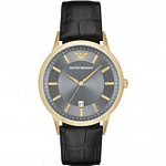 Armani AR11049 Gold & Black Textured Leather Men's Watch