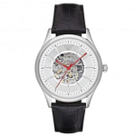 Armani AR2072 Meccanico Silver & Black Textured Leather Automatic Men's Watch