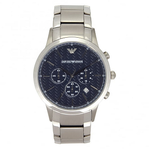 Armani AR2486 Men's Steel Bracelet and Blue Dial Chronograph Watch