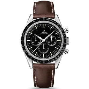 "Omega Speedmaster Moonwatch Chronograph ""First Omega In Space"" Steel On Leather Strap"