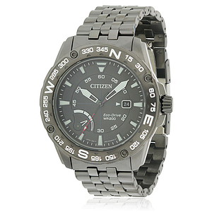 Citizen Eco-Drive Black Stainless Steel Chronograph  AW7047-54H