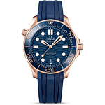 Omega Seamaster Diver 300M Master Chronometer 42mm Sedna Gold On Rubber Strap