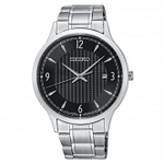 Seiko SGEH81P1 Black Dial & Silver Stainless Steel Men's Watch
