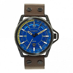 Diesel DZ1718 Rollcage Black, Blue Dial & Dark Green Leather Men's Watch
