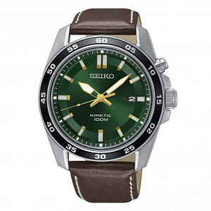Seiko SKA791P1 Silver, Green Dial & Brown Leather Kinetic Men's Watch