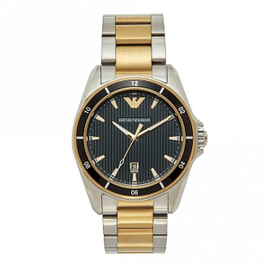 Armani AR80017 Mens Black Silver & Gold Stainless Steel Watch