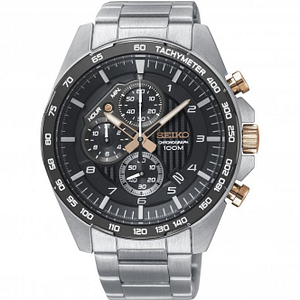 Seiko SSB323P1 Black, Rose Gold & Silver Stainless Steel Chronograph Watch