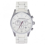 Armani AR5859 Mens White Chronograph Watch